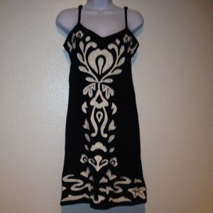 INC Black & White Embroidered Demask Dress